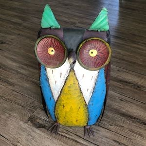 Metal Retro Colorful Owl Sculpture